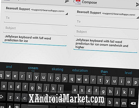 Google Jelly Bean Keyboard está disponible en Google Play para cualquier dispositivo Android 4.0.3+