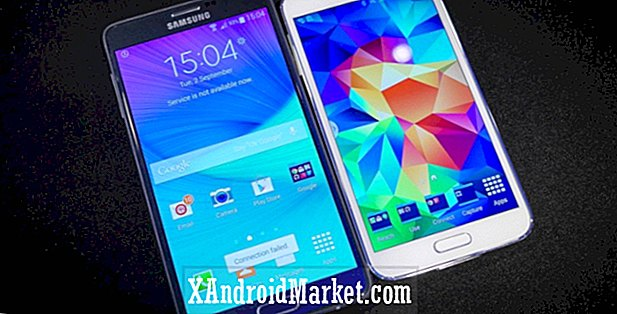 Samsung Galaxy Note 4 vs Galaxy S5 rask utseende
