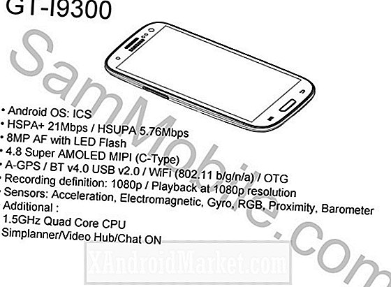 Samsung GT-i9300 (Galaxy S3?) Schets en specificaties onthuld