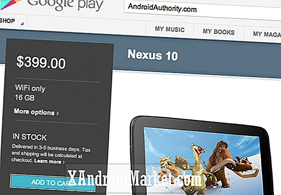 La tableta Nexus 10 de 16GB está disponible con Google Play