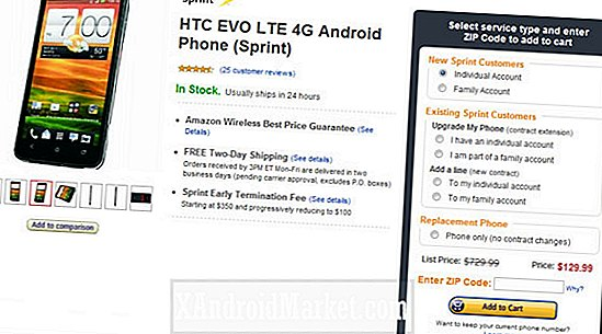 HTC EVO 4G LTE Amazon Wireless Prix Slash à 129,99 $