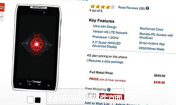 Droid Razr 32GB pris sjunker till $ 249 på Verizon Wireless