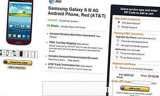 Deal: AT & T's Samsung Galaxy S3 kost $ 119,99 bij Amazon Wireless