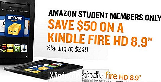 "$ 50 rabat på Kindle Fire HD 8,9 ""til Amazon Studentmedlemmer med Prime"