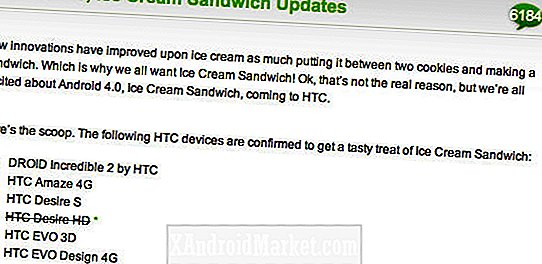 Mise à jour du HTC Desire HD Ice Cream Sandwich